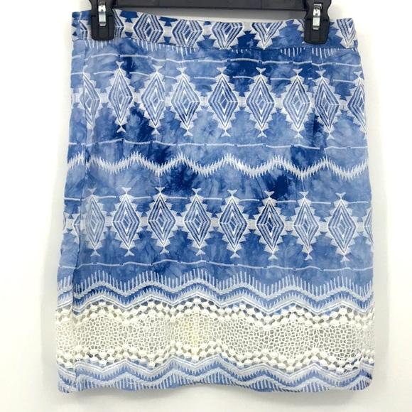 Minkpink Blue Tie Dye Embroidered Mini Skirt